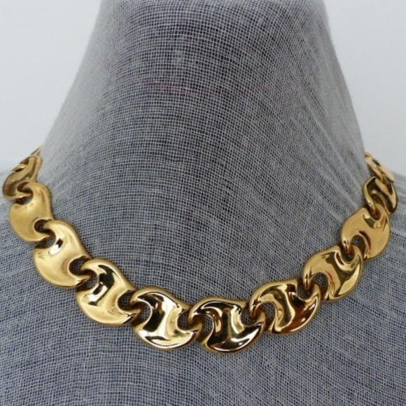 7acb0e89a Monet Jewelry | Necklace Kidney Bean 3 Oz Gold Tone 1980s | Poshmark